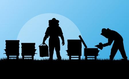 beekeeper: Beekeeper working in apiary background