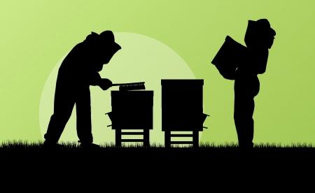 swarm: Beekeeper working in apiary background