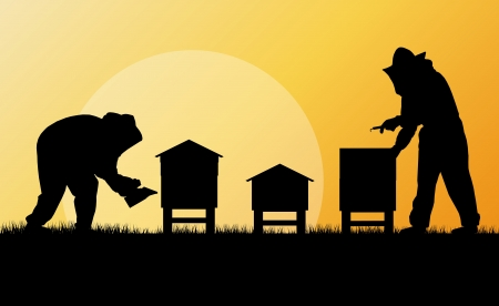 Pszczelarz pracy w pasiece tle Ilustracje wektorowe