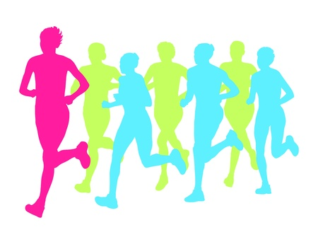 Women marathon winner finish background and group of runners Stock Vector - 20463053