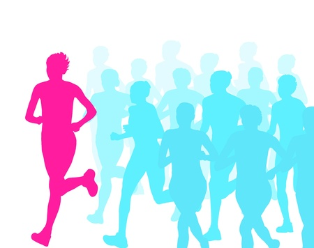 Women marathon winner finish vector background and group of runners for poster Stock Vector - 20462675