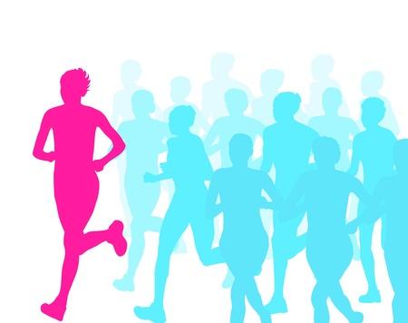 Women marathon winner finish vector background and group of runners for poster Stock Vector - 20462675