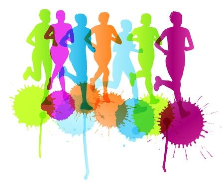 Women marathon winner finish background and group of runners Stock Vector - 20462515
