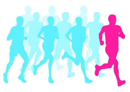 Men marathon winner finish background and group of runners Illustration