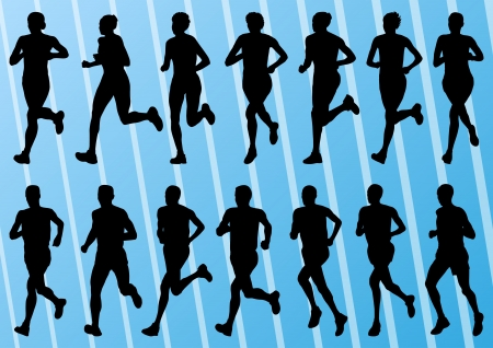 running woman: Marathon runners detailed active man and woman illustration silhouettes collection background