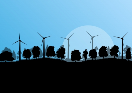 cabling: Alternative energy electricity wind generators in countryside forest nature landscape illustration background
