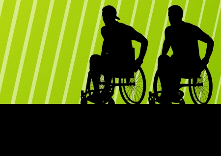 accessible: Active disabled man on a wheelchair detailed sport concept silhouette illustration background