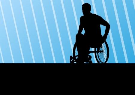 Actieve gehandicapte man op een rolstoel gedetailleerde sport concept silhouet illustratie achtergrond Vector Illustratie