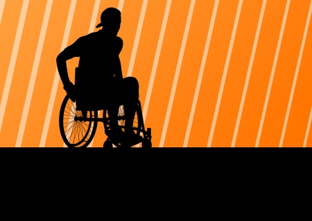 injured person: Active disabled man on a wheelchair detailed sport concept silhouette illustration background vector Illustration