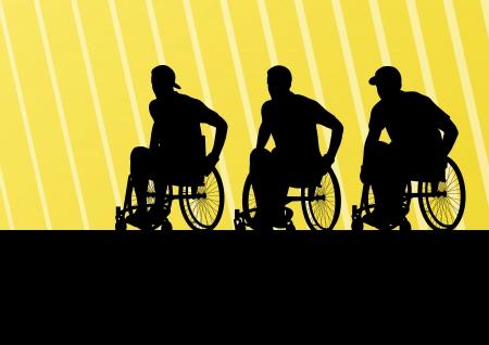 Uomo attivo disabili su una sedia a rotelle dettagliata Sport concetto silhouette illustrazione sfondo