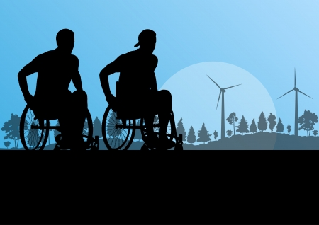 road to recovery: Active disabled men on a wheelchair detailed sport concept silhouette illustration in countryside forest nature background