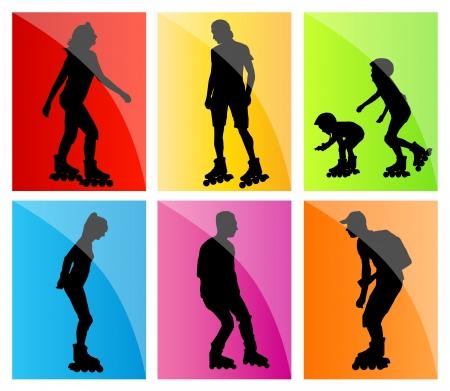patinar: El patinaje sobre ruedas, patinadores en línea de fondo vector fijó con los hombres, mujeres, adolescentes y niños para el cartel Vectores