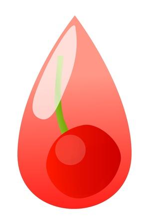 Red cherry berries juice drop Stock Vector - 20899502