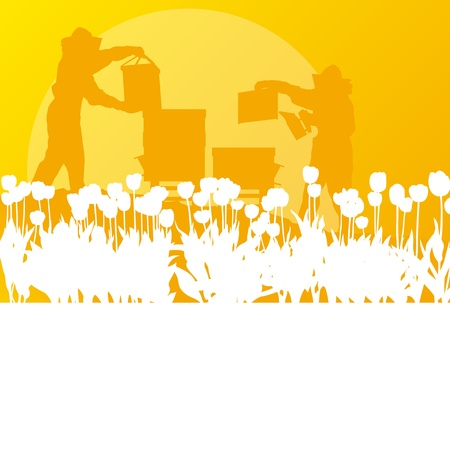 Honey comb: Beekeeper working in apiary background landscape for poster
