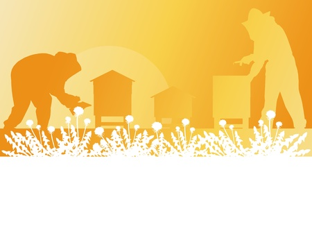 swarm: Beekeeper working in apiary background landscape for poster