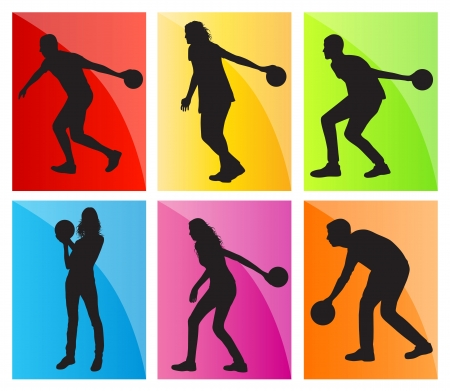 bowling alley: Bowling player silhouettes set background for poster