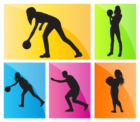 Bowling player silhouettes set background for poster Stock Vector - 20899531