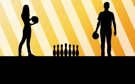 alleys: Bowling player silhouettes abstract background for poster Illustration
