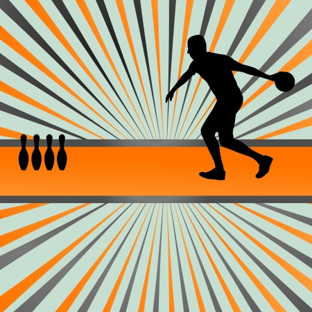 bowling alley: Bowling player silhouettes abstract background for poster Illustration