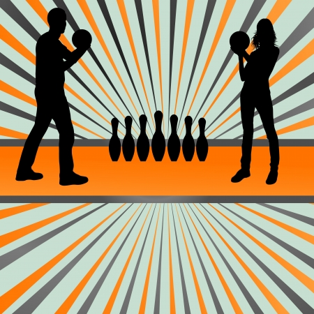 Bowling player silhouettes abstract background for poster Illustration