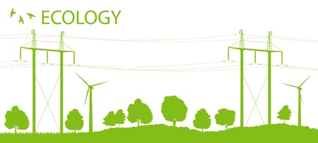 voltage symbol: Wind alternative energy generator background with high voltage power line card