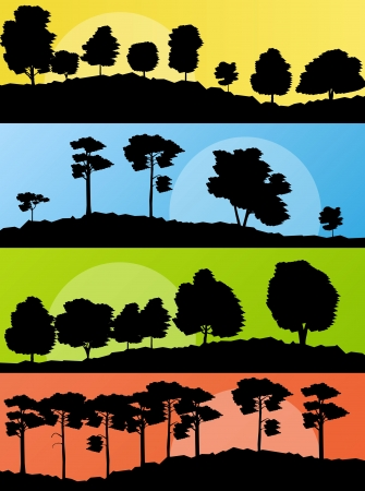 cypress tree: Forest trees silhouettes landscape illustration collection background