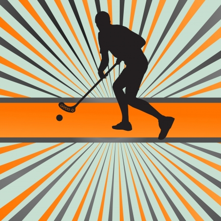 Floor ball player silhouette background abstract burst Vector