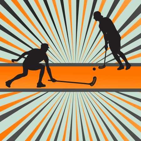 floorball: Floor ball player silhouette background abstract burst