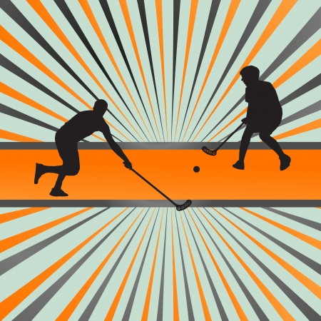 floor ball: Floor ball player silhouette background abstract burst