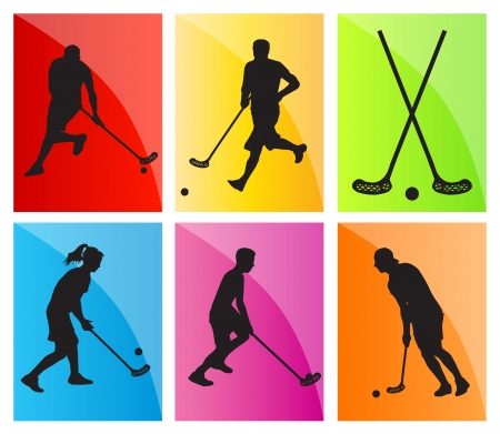 hockey players: Floor ball player silhouette background sport set for poster