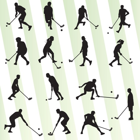 floor ball: Floor ball player silhouette background sport set for poster