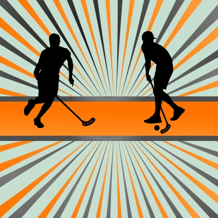 floor ball: Floor ball player silhouette background abstract burst for poster