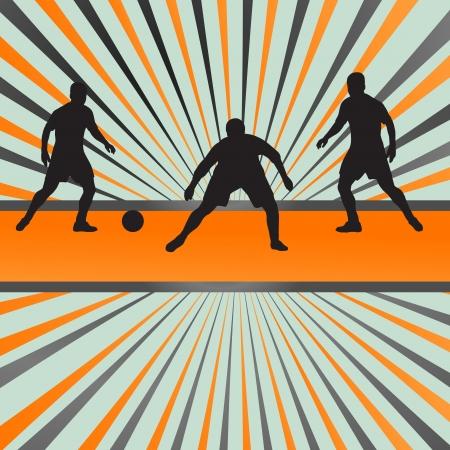 keeper: Soccer football player silhouette burst background for poster Illustration