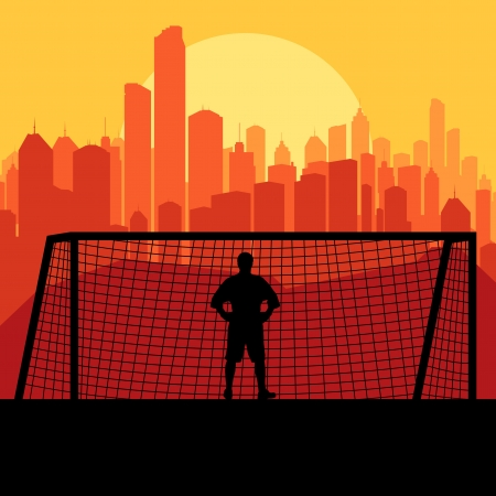 keeper: Soccer football player goalkeeper silhouette background in front of city Illustration
