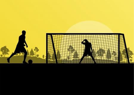keeper: Soccer football player goalkeeper silhouette background