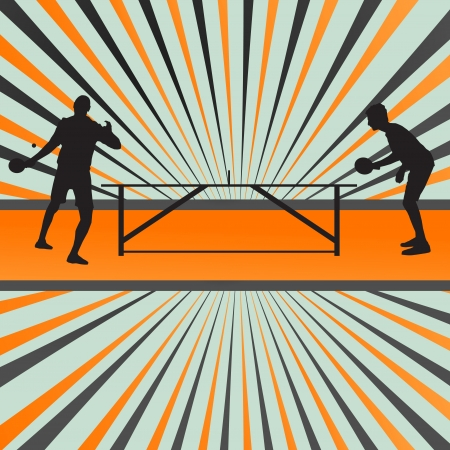 Table tennis player silhouette table tennis burst background for poster Vector