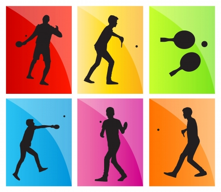 frolic: Table tennis player silhouette table tennis background for poster Illustration