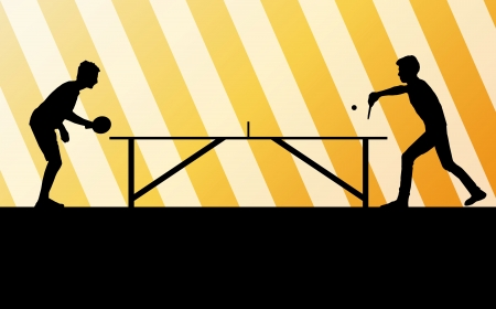 table tennis: Table tennis player silhouette table tennis background for poster Illustration