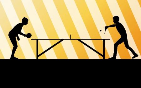 tischtennis: Tischtennis-Spieler Silhouette Tischtennis Hintergrund f�r Poster
