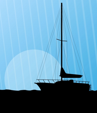 repose: Yacht, boat sailing background for poster Illustration