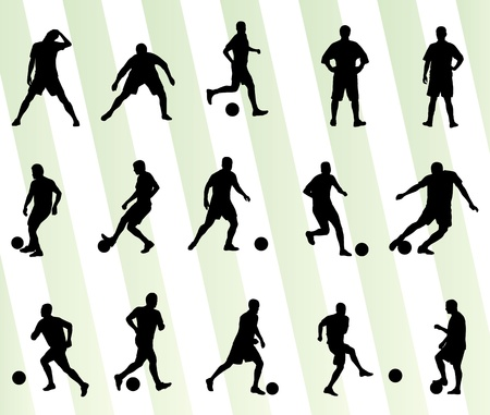 soccer player: Soccer football player silhouette background set for poster Illustration