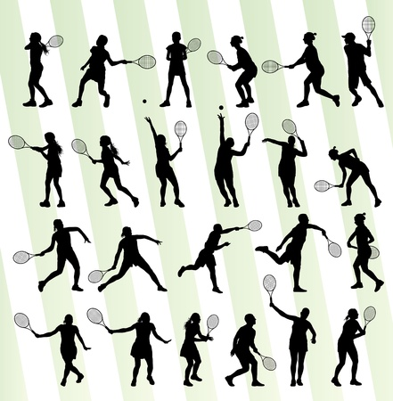 tennis serve: Tennis players silhouettes background concept set for poster
