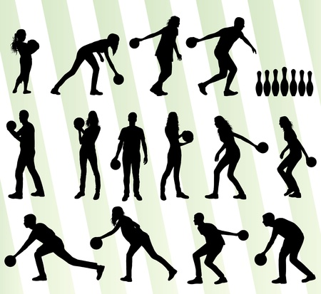 bowling sport: Bowling player silhouettes set background
