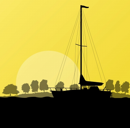 Yacht, boat sailing background for poster Stock Vector - 20899873