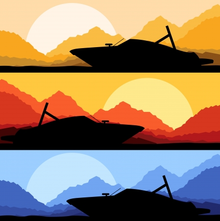 Yacht, boat sailing background for poster Vector