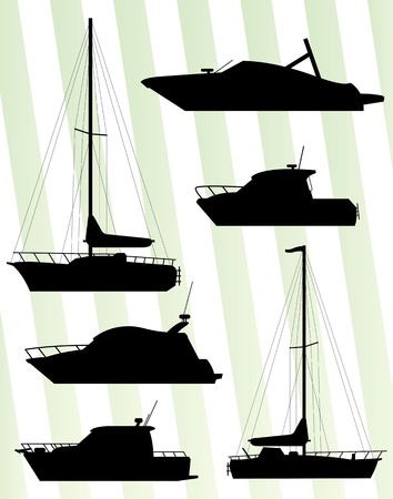 vacationers: Yacht, boat sailing background for poster Illustration