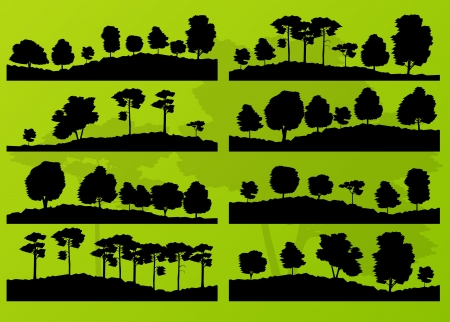 Forest trees silhouettes landscape illustration collection ecology background Vector