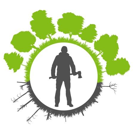 deforestacion: La deforestación en la ecología del planeta concepto de fondo verde Vectores