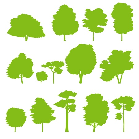Forest trees silhouettes background set for poster Vector