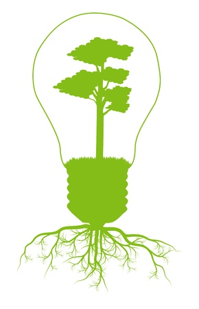 bright future: Green tree in light bulb symbol of renewable energy background ecology concept
